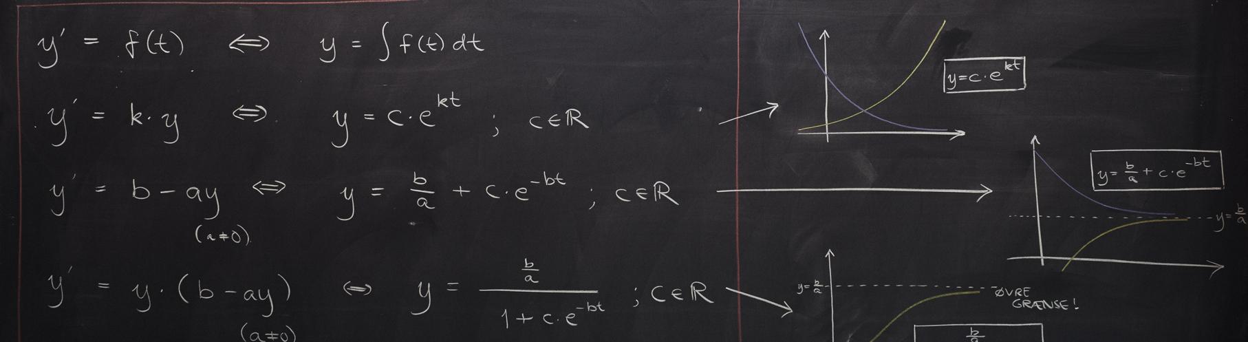Sort tavle med matematiske formler skrevet i kridt.