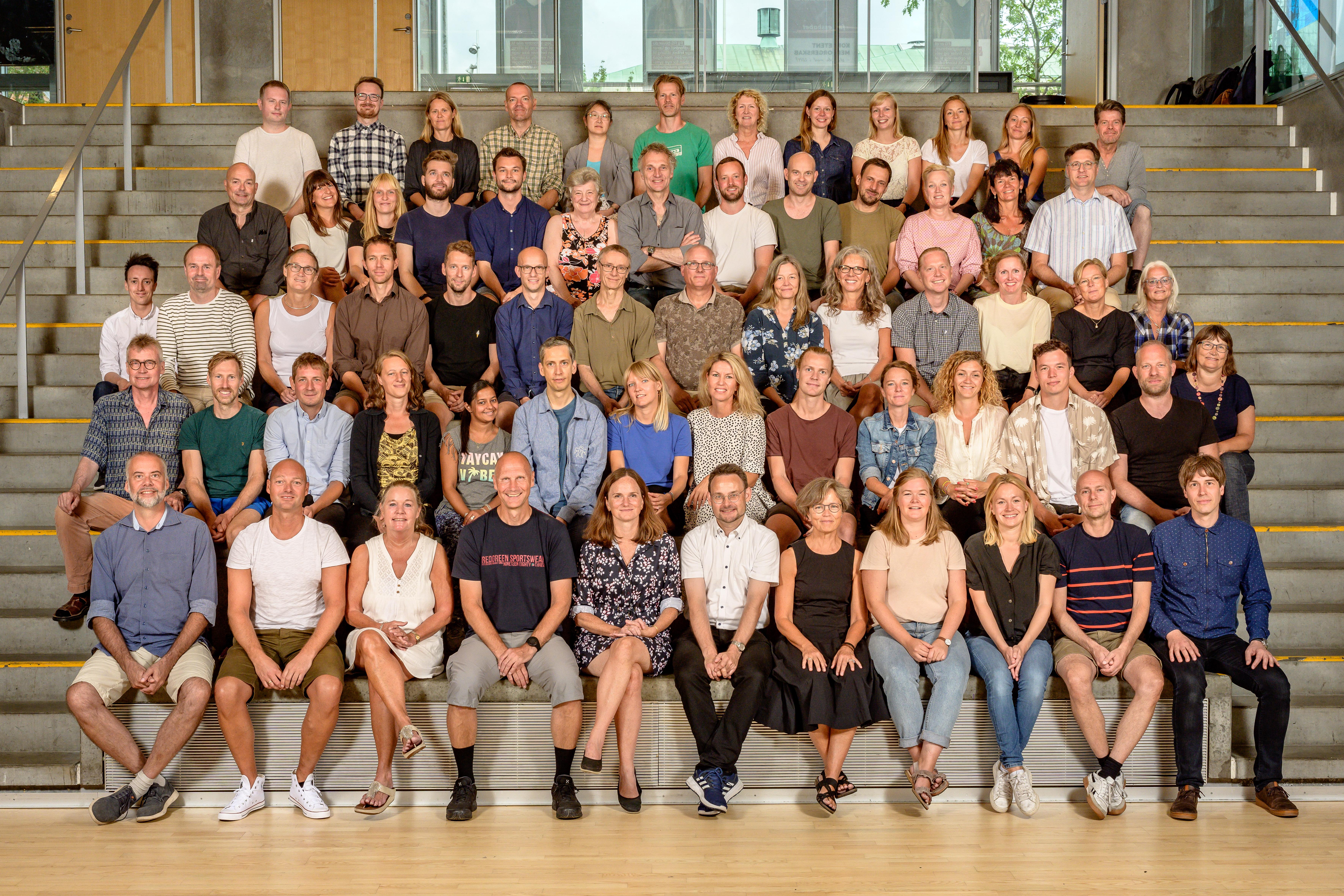 Foto af alle lærere og ledelse samlet 2019