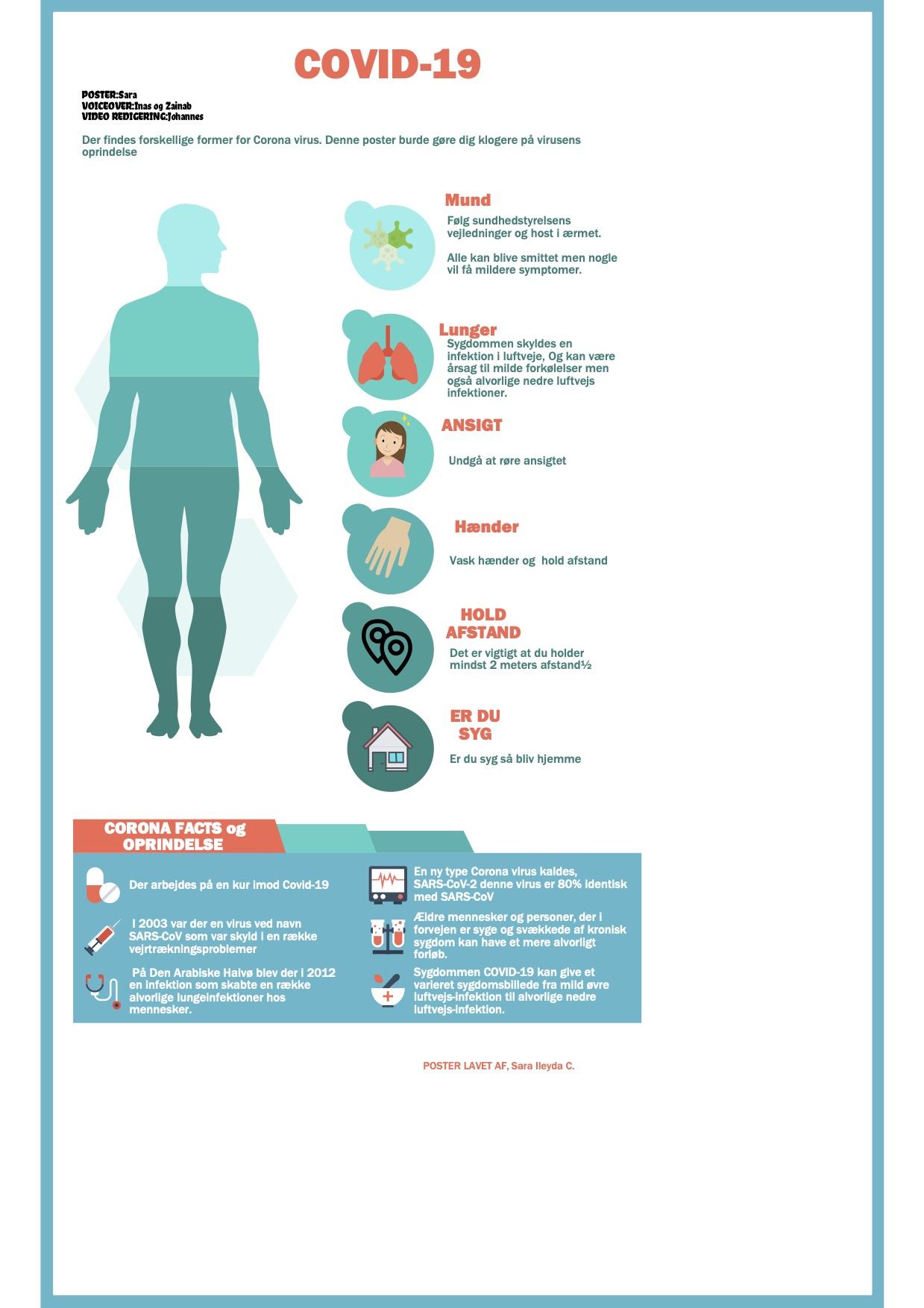 Plakat med elevers covid-19 information og illustration